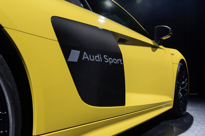 "Audi has developed a process for the partial matting of painted surfaces. With this procedure the lettering ""Audi Sport"" was etched on the Audi R8."