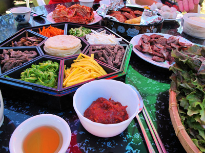 A delicious assortment of colorful Korean Food for the National Holiday of Chuseok- Gyeryong, South Korea. ** Note: Shallow depth of field